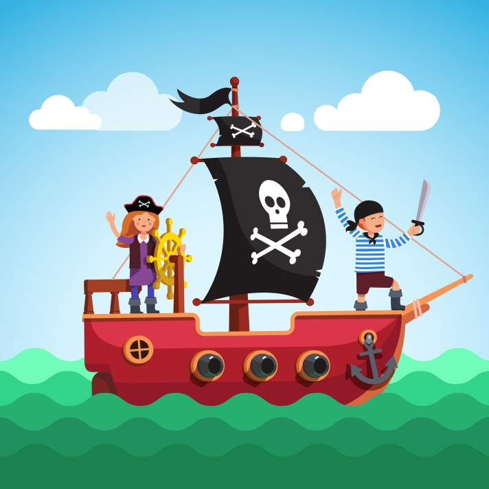 Kids pirate ship sailing in the sea with flag