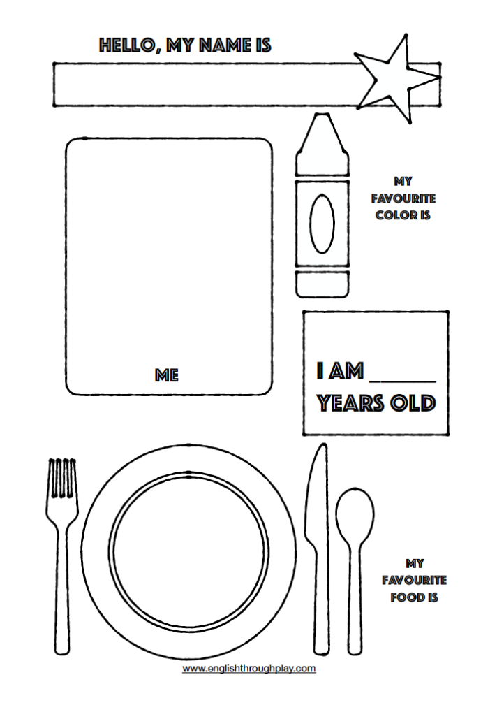 about me free printable preschool page
